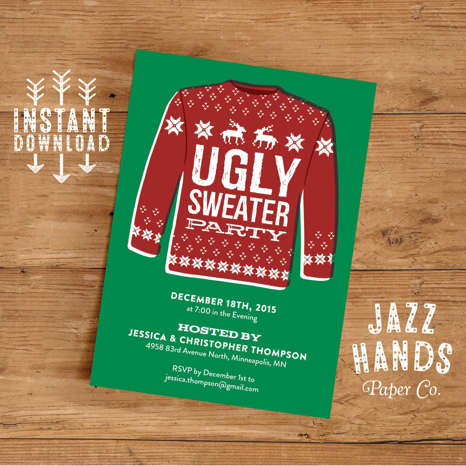 Ugly Sweater Invitation Template | DIY Printable | Holiday Party ...