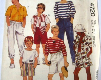 Easy Sew Boys Camp Shirt, Top, Pants and Shorts Sizes 10 12 14 McCalls Pattern 4720 UNCUT