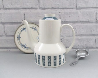 Royal Doulton Moonstone Coffee Pot T.C.1023 Excellent Cond Dark Blue Floral Detail Vintage Ceramic Kitchenalia Made in England Great Gift