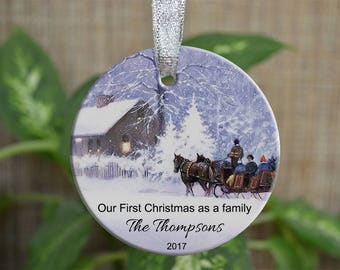 Personalized Christmas Ornament, Our First Christmas as a family ornament, Custom Christmas Ornament, new home gift, Christmas gift. o025