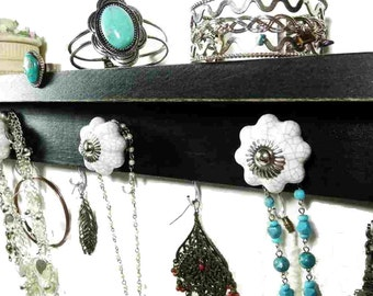 "Pumpkin Knob Black and White Jewelry Shelf & Bathroom Organizer. 16"" x 3"" Available in 4 colors. A great gift idea!"
