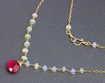 Red Ruby Necklace, Ethiopian Opal Necklace, Pink Ruby Gemstone Necklace Gold Filled Wire Wrapped Bridal Necklace Delicate Statement Necklace