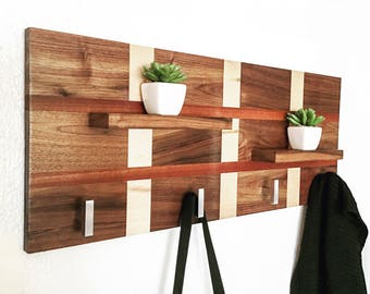 Wood Coat Rack, Wall Coat Rack, Modern Coat Rack, Entry Way Organizer, Coat Rack Stand, Wall Hooks, Entry Way Hooks, Entry Way Decor