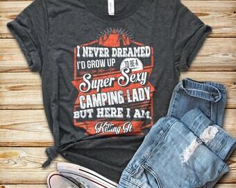 Camping shirt, Womens Shirt, Happy Camper, Outdoors Shirt, Hiking, Camping T-shirt, Ladies, Camp Top, Vacation shirt, Glamping tee