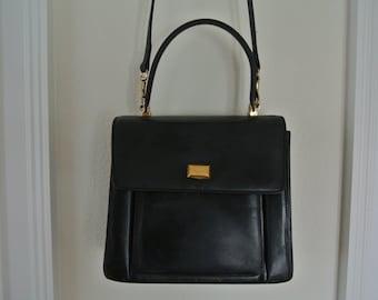 Bally Handbag Black Leather Kelly Bag Cross Body Shoulder Bag 1990s Grunge