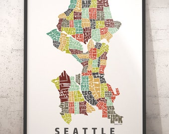Seattle map art, Seattle art print, Seattle typography map, map of Seattle, Seattle neighborhood map with title