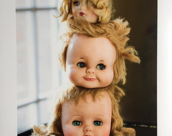 Creepy Cute Doll Trio Photo - 11x14 Print of Vintage Sweet creepy Doll heads, blonde hair dolls, cute face, scarey creepy By Jean Lannen