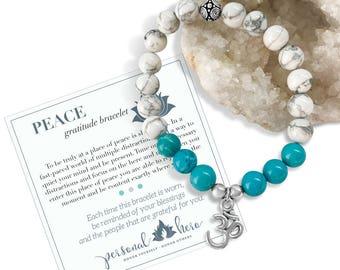 Mindfulness Gift, Anxiety Bracelet, Stress Relief Gifts, Ohm Energy Bracelet, Peace White Howlite Jewelry, Turquoise, Stretch Bracelet