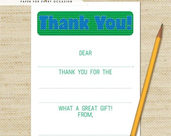 Lego Thank You Cards - Boys Birthday Fill in the Blank Thank You Cards and matching envelopes, Birthday Thank You Cards