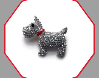 Scottie Dog Clear Crystals Brooch Vintage Look Women's Fashion Accessory GiftBoxed