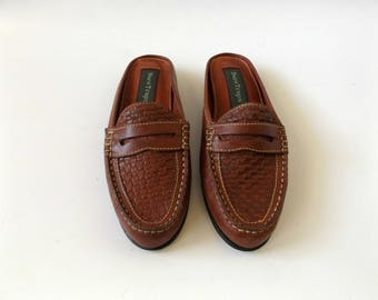 woven penny loafer mules - size 7 1/2 - vintage 90s minimal preppy brown leather slip on shoe - ladies oxford flats - 1990s hipster hippie