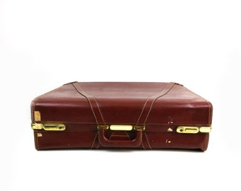 Vintage Large Divided Suitcase in Brown Leather - Home storage - Luggage Decor