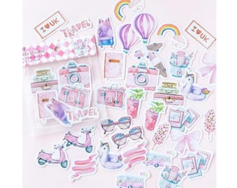 Diary Scrapbook Sticker Label Seal Pack Travel (40 stickers)