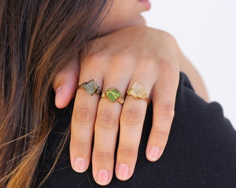 Handmade Wire Wrapped Sea Glass Rings