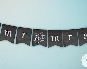 Chalkboard Mr & Mrs Wedding Banner Photo Prop / Reception Decoration / Engagement Party Decor