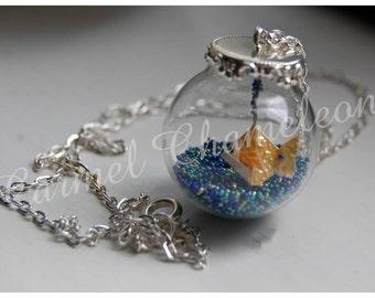 Origami GoldFish Necklace ~Unusual Quirky Necklace/Pendant ~Terrarium/Globe ~Fish Charm ~Cute