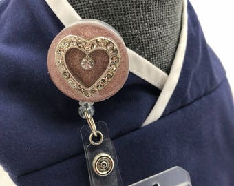 Rhinestone Heart ID Badge Reel/Valentine Badge Reel Topper/Interchangeable or Permanently Adhered to Badge Reel Front