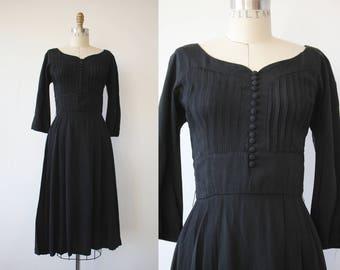 vintage 1950s dress / 50s black dress / 50s LBD / full skirt dress / 50s cocktail dress / 50s party dress / 50s rayon dress / Rosenfeld S
