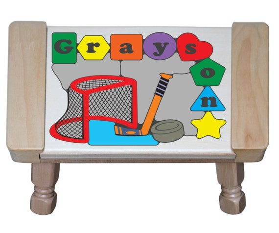 Personalized Name Puzzle Ice Hockey Sports Theme Stool
