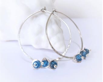 NEON Blue Apatite and Hammered Sterling Silver Hoop Earrings, teal blue, modern casual jewelry
