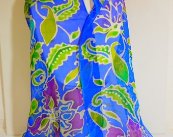 """Hand painted silk georgette 24""""x72""""inch floral batik oblong wrap in blue,purple, turquoise and green"""