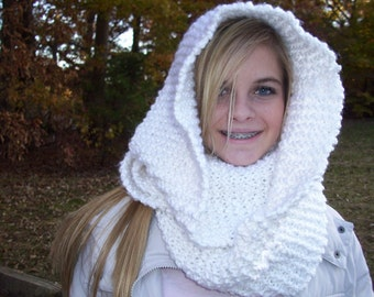 White INFINITY SCARF...Hooded...Hand Knitted Never Ending Circle......Loop Style...Cowl..Free Shipping