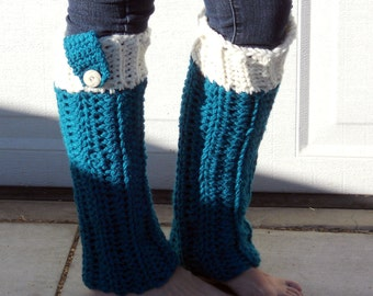 Crocheted dance trendy Leg warmers in teal and cream.