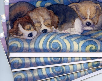 4 x Beagle puppy greeting cards