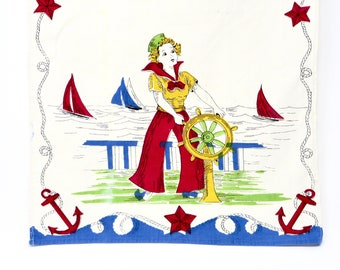 Vintage Dish Towel 1950s Sailor Girl Screen Printed Bold Red Blue Yellow on White Cotton Kitchen Tea Towel