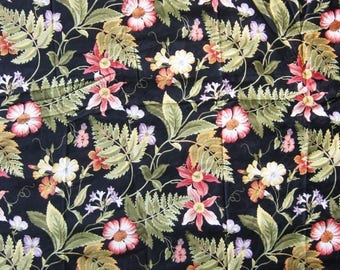 Jay Yang Floral and Fern Fabric - 1 Yd. - Large Multi Color Flowers and Green Leaves