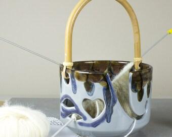 Ceramic Yarn Bowl LARGE Grey Heart Pottery knitting Bowl handle Wheel thrown crochet bowl gift for mom grandma blueroompottery MADE to ORDER