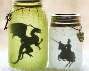 Medieval Knight - Medieval Dragon - Dragon Slayer - Nursery Decor - Dragon Jar - Night Light - Dragon Decor - Mason Jar Decor - Luminary