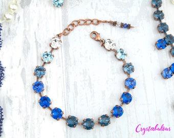 Swarovski Crystal Bracelet, Crystal Bracelet, Blue Bracelet, Gradient Bracelet, Ombre Bracelet, Bridal Bracelet, Statement Bracelet, Gift.
