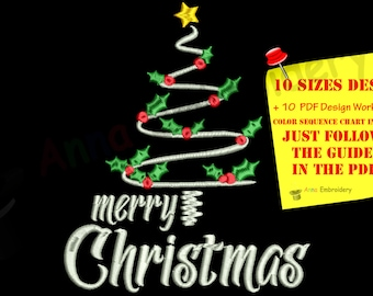 Christmas Tree Embroidery Design-Winter Holiday-Merry Christmas-Instant Download-PES