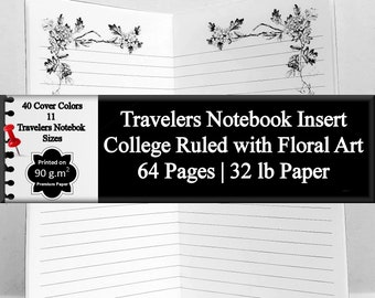 Travelers Notebook Insert Lined Journal with Floral Art Journal Notebook Writing Journal Lined Diary Journal Daily Diary Blank Journal