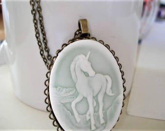 Unicorn Cameo Necklace Vintage Brass Cameo Necklace Cameo Jewelry Unicorn Jewelry