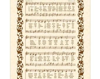 Give Me The Faith - Custom Christian Home Decor - VintageVerses Sheet Music- Hymn Wall Art- Inspirational Wall Decor- Antique Hymn Art Print