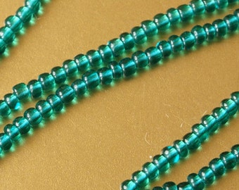 6x20 Inch Strands Czech Teal Glass Seed Beads Vintage 2mm New Old Stock x 6 Strands