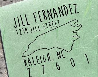 North Carolina Address Stamp, Custom North Carolina Stamps