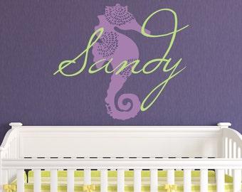 Baby Girl Nursery Decal - Monogram Name Decal - Personalized Name Decal Girls Name Decal Childrens Wall Decal