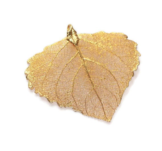 24K Gold Dipped Leaf Jewelry Making Craft Supply Birch Leaf