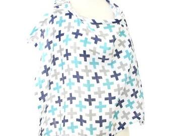 15% OFF SALE - Cooper's Plus Sign   Gray and Aqua Nursing Cover