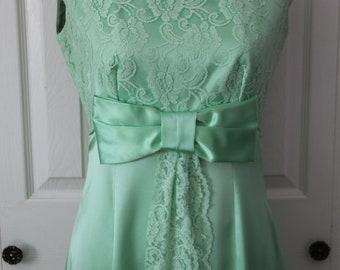 1960s Mint Green Formal Prom Dress