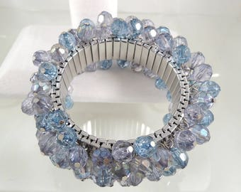Fun Cha Cha Bracelet - Blue Acrylic Faceted Crystal - Wide Silver Tone Expansion Wrist Adornment - Vintage Costume Jewelry