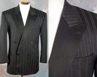Striped Tuxedo Jacket, European Vintage Black-0n-Black Double-Breasted Tux Jacket w Fine Blue & Burgundy Pinstripes: L (40S US/UK)