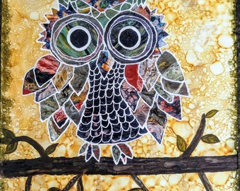 Owl 11x14 Canvas Painting with Acrylic & alcohol Inks