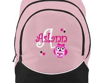 FREE SHIPPING - Owl Personalized Monogrammed Backpack Book Bag school tote  - NEW