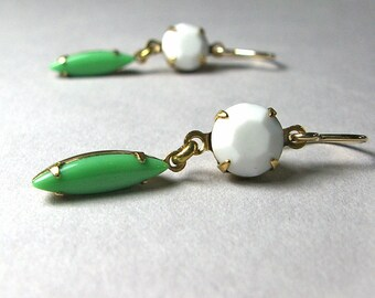 Opaque White Green Earrings, Vintage Round Navette Jewels, 14K Gold Fill Ear Wires, Spring Fashion