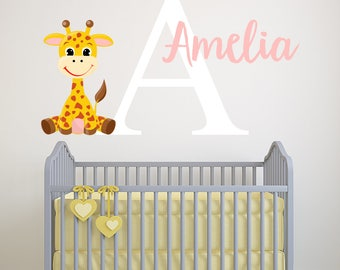 Personalized Name Wall Decal - Giraffe Wall Decal - Girls Wall Decal - Baby Girl Nursery Wall Decor - Giraffe Kids Vinyl Wall Decal  sc 1 st  Etsy & Giraffe wall decal | Etsy