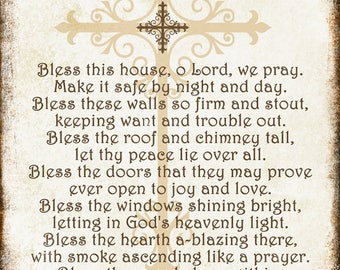 "Bless this House // Cross // Metal Sign // 12"" x 16"""